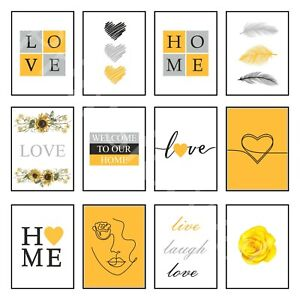 Love Art Print Home Prints Posters Yellow Bedroom Wall Decor One Line Drawing