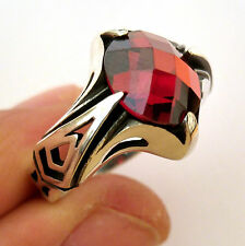 Turkish 925 S. Silver Garnet (lab) Stone Men's Ring Sz 11.5 us #0310 free resize