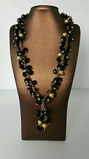 "Sarah Kern traumcollier "" Black Crystals "" 47+ 7cm Brass Gold Plated Satin"