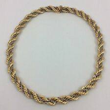14K TWO TONE YELLOW AND WHITE GOLD ROPE CHAIN COLLAR CHOKER NECKLACE 14.75""