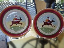 Vintage Eddie Bauer- Santa Riding Reindeer Salad/Appetizer Plates-Italy