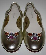Girls Nordstrom Metallic Gold Geneva Leather Flats Shoes Size 4 M