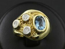 Einmaliger Aquamarin Brillant Ring Goldschmiedearbeit 14,8g 585/- Gelbgold