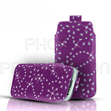 DIAMOND BLING GLITTER LEATHER PULL TAB SKIN CASE COVER POUCH FOR VARIOUS PHONES