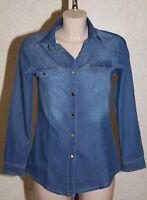Chemise en Jeans Femme Cintré Manches Longues Poches Poitrine Pierre-cedric !!