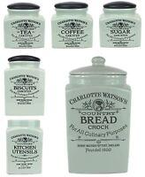 Henry Watson Tea, Coffee, Sugar, Utensil, Biscuit or Bread Jars in Celadon Green