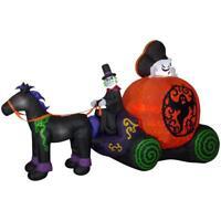 NEW 12 FT Halloween Inflatable Projection Kaleidoscope Fuzzy Pumpkin Ghost Coach