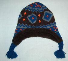 6bfcf0ec5d9 Toddler Girls WINTER HAT Knit SHERPA LINING Blue Black Orange ONE SIZE