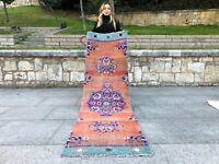 Turkish Vintage Wool Runner Rug Floral Anatolian Decorative Handmade Runner  Rug