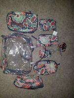 8 pcs. vera bradley Nomadic Floral, pencil case, make up bag, mirror, luggage
