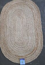 100% Jute Oval reversible natural 60x90cm Braided, Plain American style rug.
