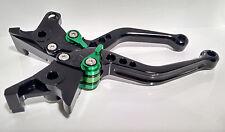 Kawasaki ZRX1100/1200 Black Adjustable Levers/Green Adjusters (Shorty)