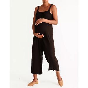 Storq Black Studio Knit Ribbed Maternity Jumpsuit Size 4/Large
