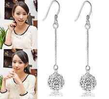 Long Silver Hook Earring Crystal Ear Stud Drop Dangle Earrings gift 1 pair hs0
