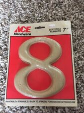 """Vintage Ace Hardware 7"""" Unfinished Number 8 Paintable Stainable Wall Decor 1988"""