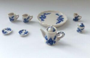 1/12 Dolls House Miniature Blue Serving Dinner Tea Set Kitchen Dining room LGW