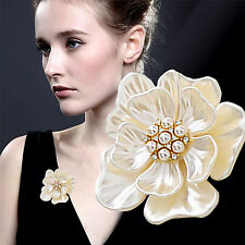 Elegant Gold Flower Pearl Rhinestone Crystal Wedding Bridal Bouquet Brooch Pin C