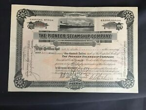 Vintage 1923 The Pioneer Steamship Company Stock Certificate 50 Shares