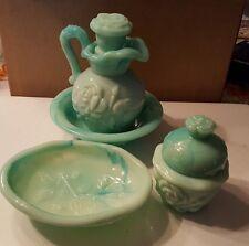 Vintage AVON Victoriana Jadeite Pitcher, Saucer Powder Sachet and Soap Dish