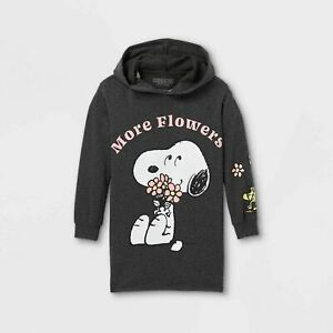Girls Snoopy Gray Long Sleeve Hooded Dress more Flowers New