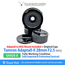 ⭐SERVICED⭐ TAMRON 28MM F2.5 Adaptall-2 BBAR MC Lens + AD2 to M42 Mount [GRADE B]