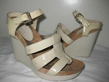 Coach Leala Patent Leather Wedge Beige Sandals Shoes Size  6 B