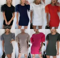 Women's Ladies Fine Ribbed Tulle Frill Puff Sleeve T-Shirt Mini Jumper Dress Top