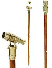 Canne en bois avec longue vue en laiton, aristocrate steampunk