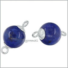 2 Sterling Silver Natural Lapis Lazuli Round Bead Connector 10mm #51876