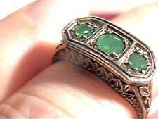 SILVER Colombian NATURAL EMERALD ring 6 ELEGANT filigree STERLING 925 DAINTY WOW