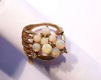 Solid Australian Opal & Gold Gilt Dress Ring, size 5 7/8 (2738)