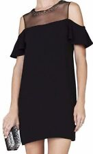 BCBG MaxAzria CANDACE Black Studded Peek-A-Boo Shoulder Short Dress sz 0