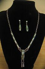 Zuni Sterling Silver & Fire Opal Necklace & Earrings Artist Signed D. Lucio