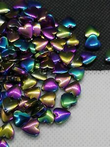 50 Hematite Heart Beads, Rainbow Electroplated, 8mm, Non-magnetic (MYGS 238)