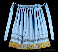 Antique blue apron with metallic gold lace trim European folk costume German old