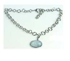 EMPORIO ARMANI SILVER TONE,2 SIDED ROUND CHARM FLORAL MOP CHAIN NECKLACE-EGS1150