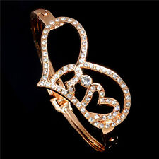 Charming Hearts Austrian crystal 18K Rose gold Plated Lady's Bangle Bracelet
