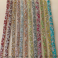 Dazzling Rhinestone Wrap Ribbon Bling Colorful Banding Accent for Party