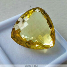 56.70 Ct Genuine Natural Yellow Citrine AAA Checker Cut Loose Trillion Gemstone