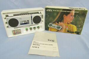 RARE MIB VINTAGE AIWA CS-M1 MICROBOY BOOMBOX SILVER MICRO-CASSETTE GHETTO BLASTE