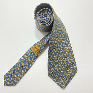 Hermes Blue Bamboo Leaves 100% Silk Tie France 7296 EA Has Stains see Photos