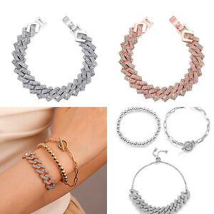 Curb cuban Iced out bling Bracelet rhinestone chunky links statement bracelet