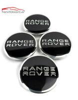 RANGE ROVER LOGO (SET OF 4) 63mm BLACK CENTER WHEEL HUB CAPS EMBLEM BADGE COVER