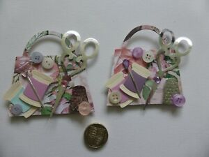 4 large detailed sewing bags handmade card toppers crafter Birthday friend Mum