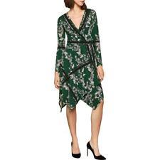 BCBGMAXAZRIA Womens Isabella Floral V-Neck Long Sleeves Wrap Dress BHFO 0451