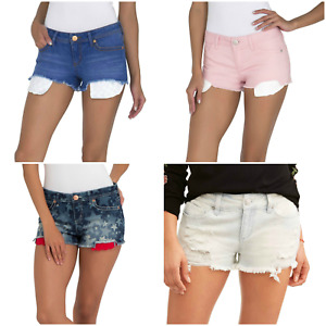 No Boundaries Blue Denim Juniors Shorts 5-Pocket Zip-Fly Size 1 3 5 7 9 11 15