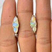 Ethiopian Opal Gemstone Earrings 925 Solid Sterling Silver Handmade Jewelry