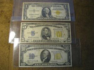 Group of 3 Small Size Silver Certificates, $1, $5, $10 from 1934 and 1935