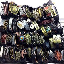 Wholesale 500 Mix Theme Leather  Men Cross Skull  Bracelet Wristbands Bangle