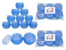 12 Pieces 10 Gram/10ml Blue Round Frosted Sample Jars with Inner Liner and Lid